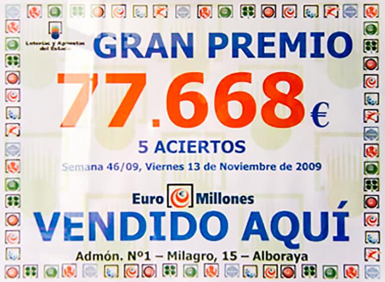 Quinto premio en Loteria de Navidad premiados en el año 2012