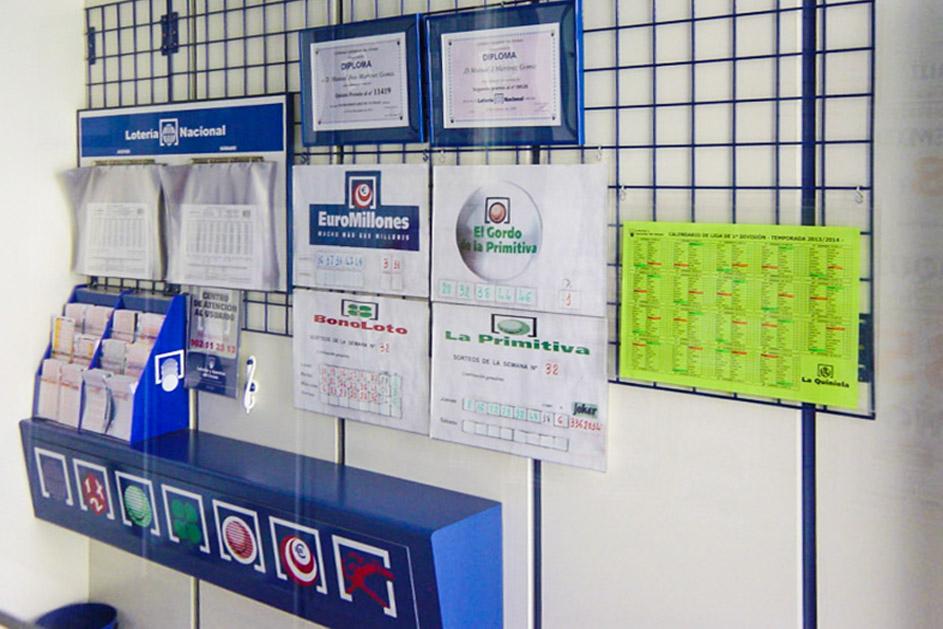 Muestra de los premios que nuestra administración de loterías ha concedido.