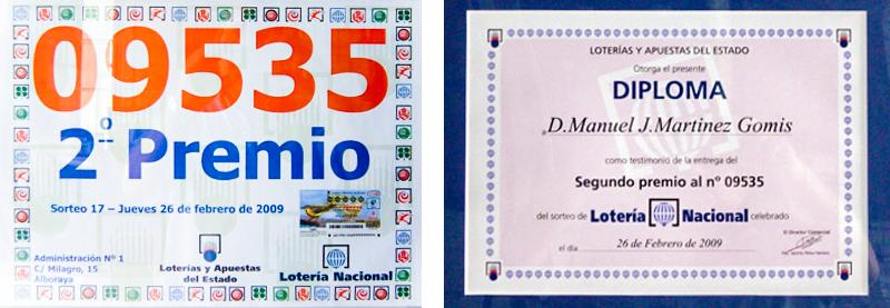 segundo premio en lotería premiados en el año 2009