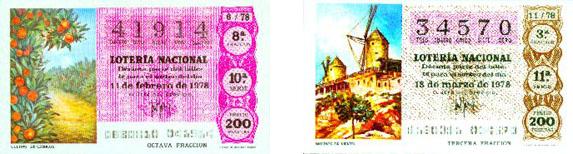 segundo y tercer premio de lotería premiados en el año 1978